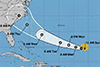 A map showing the predicted path of hurricane florence