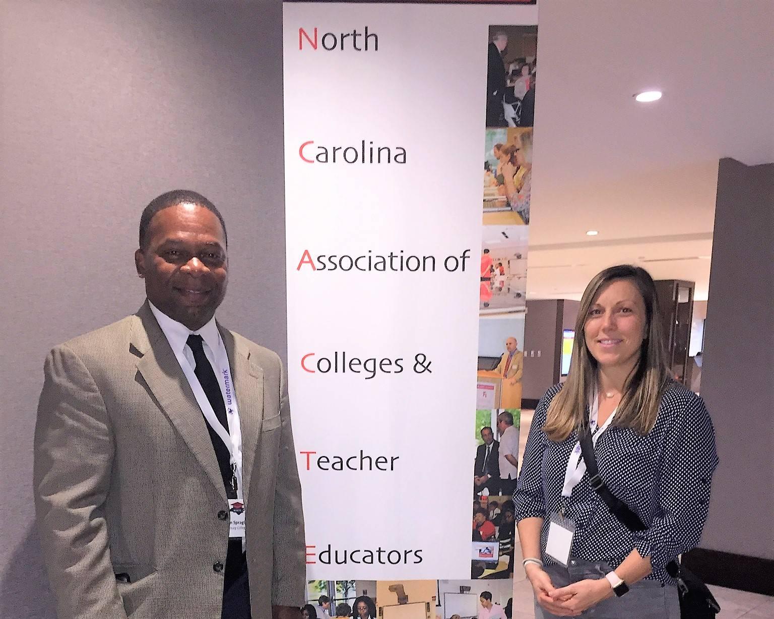 Dr. Kelvin Spragley and Mrs. Caitlin Frederick at the 37th Annual North Carolina Teacher Education Forum (NCACTE).